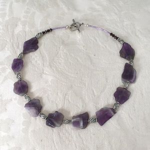 Jewelry - Handcrafted amethyst necklace /silver toned  beads